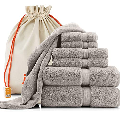 joluzzy Luxury 7-Pic Silver/Gray Towel Set – 100% Long-Staple Turkish Cotton – High Absorbent 700 GSM – Soft & Plush – Hotel Quality – 2 Bath Towels, 2 Hand Towels, 2 Face Towels, 1 Floor Mat