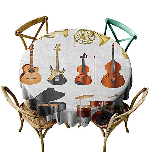 (Sunnyhome Round Outdoor Tablecloth Music Collection of Musical Instruments Symphony Orchestra Concert Composition Theme Print Multicolor Modern Minimalist 67)