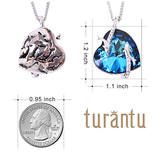 Turantu Gift for Women Heart of The Ocean Dolphin Pendant Necklace Made with Swarovski Crystal