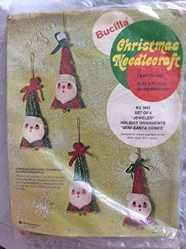 Bucilla Christmas Needlecraft Jeweled Holiday Ornaments ~ Mini-Santa Cones - Set of 4 #1641 ()