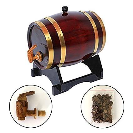 Whiskey - barril de vino de roble para whisky y cerveza de cerveza de Tequila y más garantizada sin fugas (5 L) Retro