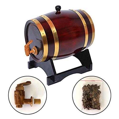 Liquors 5 Liter Whiskey Barrel Dispenser Wood Oak Wine Barrel Decanter for Serving Table Home Accent Display Storage of Spirits White Whiskey