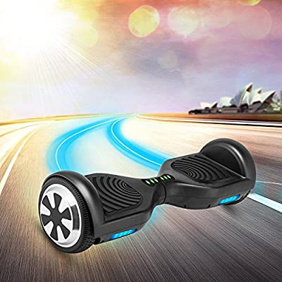 Hoverboards Smart Self Balancing Scooter - 6.5'' Aluminum Alloy Wheels, Bluetooth Speaker, Safe UL2272 Certified, Front LED Light, Black, for Adults and Kids, V110 - by VEEKO