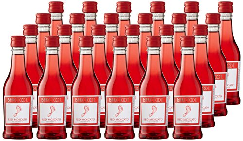 Barefoot Cellars California Red Moscato Plastic and Portable Mini Wine Bottles, 24 x 187ml