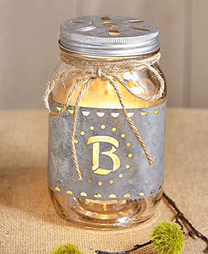 The Lakeside Collection Monogram Mason Jar Accent Light - B