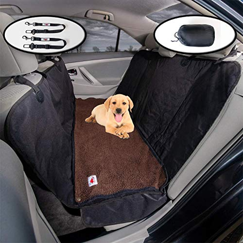 The Ultimate Dog Car Seat Cover/Pet Hammock and Soft Washable Dark Brown Fleece Dog Bed - 2 Piece Set - 58