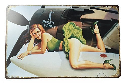 Pish Posh Llc Vintage Tin Sign Decor, Pinup Style Girl on WWII plane