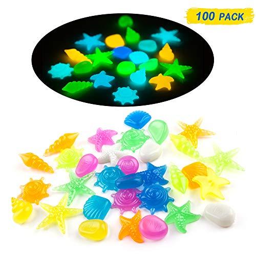 (MOMOONNON 100 Pcs Aquarium Decorative Glow in The Dark Pebble Stones with Colorful Starfish, Conch Shell Shape for Garden, Yard, Fish Tank, Fish Bowl, Vase, Handmade Crafts Decoration)