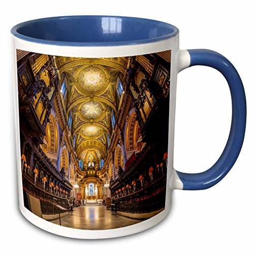 3dRose Danita Delimont - Cathedral - Choir stalls, altar and roof, St Pauls Cathedral, St Pauls, London - 15oz Two-Tone Blue Mug (mug_227979_11)