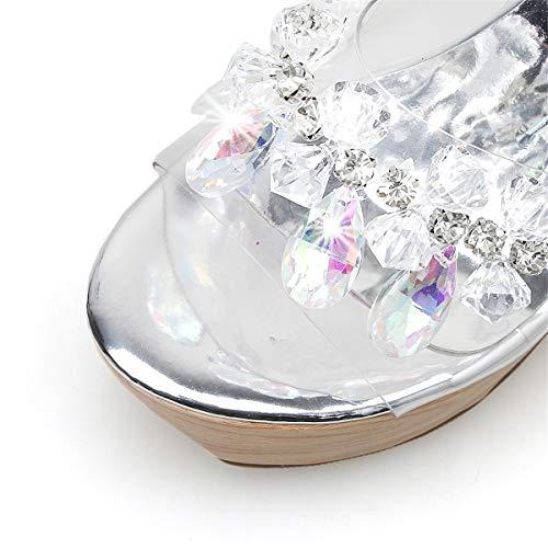 2019 Altos Moda Mujeres 37 Las Zapatillas Toe Y A Tacones De Plataforma Peep Yan Señoras Cuentas Con Mulas Rhinestone Nuevos Zuecos b Cuña Zapatos X6FTq4