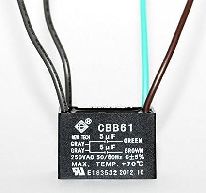 Remarkable Amazon Com Ceiling Fan Capacitor Cbb61 5Uf 5Uf 4 Wire Home Improvement Wiring Database Ittabxeroyuccorg