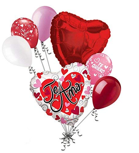 - 7 pc Te Amo Hearts & Swirls Love Valentines Day Balloon Bouquet Mine Hug Kiss