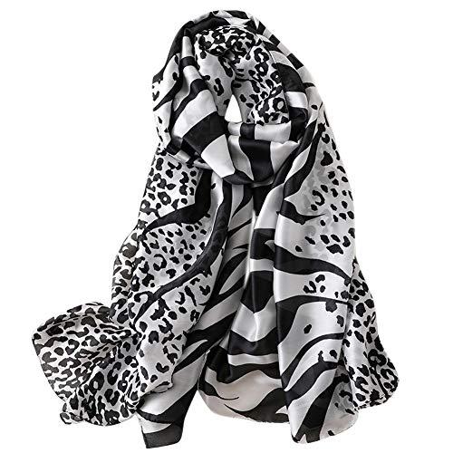 GERINLY Animal Print Shawl Wraps Zebra & Leopard Pattern Silky Scarf (Black)