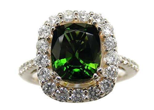 - 3.59 Carat Chrome Tourmaline & Diamond 14k Yellow Gold Ring