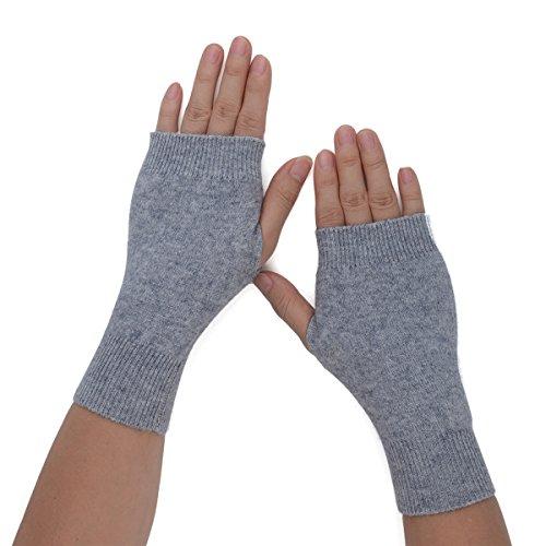 Flammi Women's Knit Fingerless Gloves Cashmere Mittens Warm Thumb Hole Gloves (Light ()