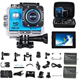 HD 1080P Wifi Sports Camera Waterproof Diving 30M Mini DV 170 Degree Wide Angle Car Recroder 2.0inch LCD Display Dash Cam with 2PCS Battery, Helmet Cam Bicycle Action Camera for Biking, Riding, Racing, Skiing, Motocross And Water Sports (Blue)