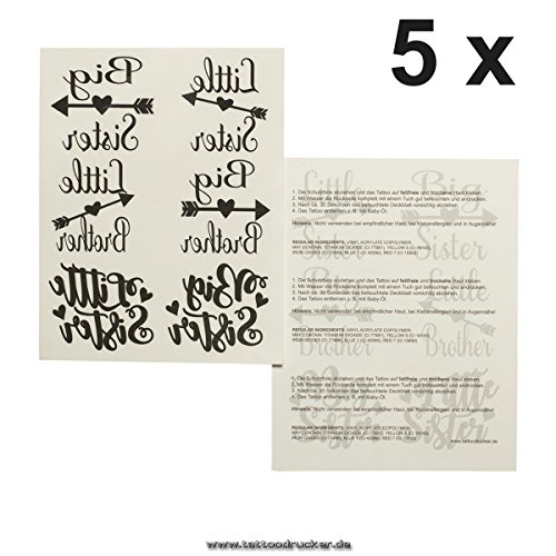 5 x Sibling Tattoo Card - Big/Little Sister/Brother