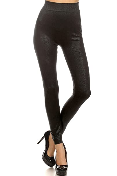 e1c0418ad3fd9b ICONOFLASH Women's Metallic Print Fleece Leggings (Black Small Dots, One  Size)