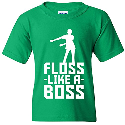Floss Like A Boss - Flossin Dance Funny Emote Youth T Shirt - X-Large - Irish Green ()