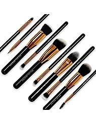 Brush Master(TM) Makeup Brushes Premium Makeup Brush Set Synthetic Kabuki Cosmetics Foundation Blending Blush Eyeliner Face Powder Brush Makeup Brush Kit (10pcs, Golden Black)
