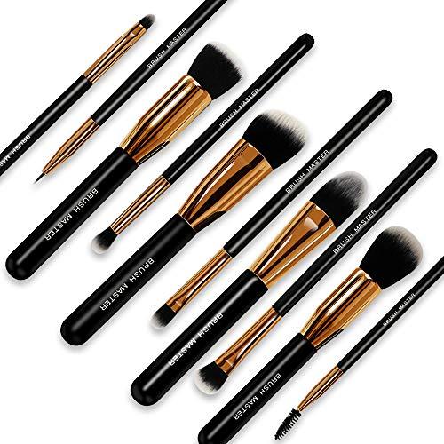 (Brush Master(TM) Makeup Brushes Premium Makeup Brush Set Synthetic Kabuki Cosmetics Foundation Blending Blush Eyeliner Face Powder Brush Makeup Brush Kit (10pcs, Golden)