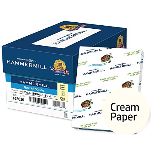 Hammermill Colored Paper, Cream Printer Paper, 20lb, 8.5x11 Paper, Letter Size, 5000 Sheets / 10 Ream Case, Pastel Paper, Colorful Paper (168030C)