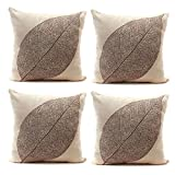 Luxbon 4 PCSVeins of a Leaf Decorative Cushion Cover Durable Cotton Linen Sofa Throw Pillow Case Shabby-chic Home Decors Skeleton Leaves Pillow Cover 45X45cm