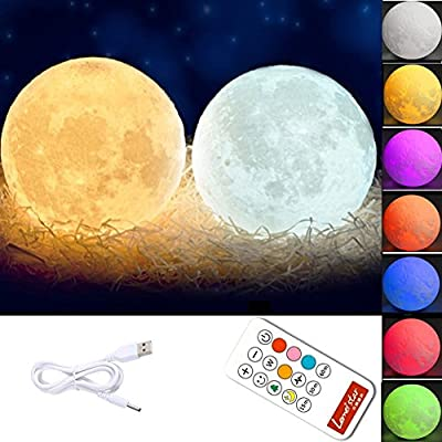 Global-store 3D Moon Lamp Baby Night Light Remote Control, White and Warm White with Adjustable 7 Colors Rechargeable and Timer(5.9Inch)