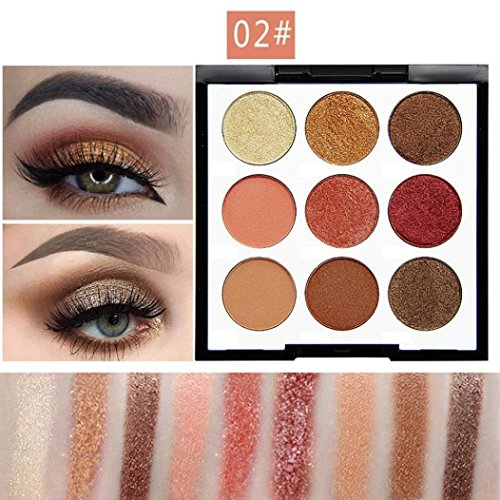 Best Pro Eyeshadow Palette Makeup - Matte + Shimmer 9 Colors - High Pigmented - Professional Vegan Nudes Warm Natural Bronze Neutral Smokey Cosmetic Eye Shadows (B - 9 (Bronze Eye Brush)