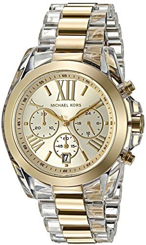Michael Kors Women s Bradshaw Clear Acetate and Goldtone Chronograph Watch