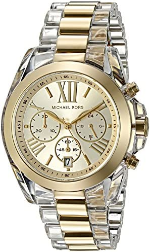 Michael Kors Women s Bradshaw Clear Acetate and Goldtone Chronograph Watch