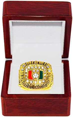 Undefeated Season Collectible High-Quality Replica NCAA Football Gold Championship Ring with Cherrywood Display Box UNIVERSITY OF MIAMI HURRICANES 1991 NATIONAL CHAMPIONS Craig Erickson