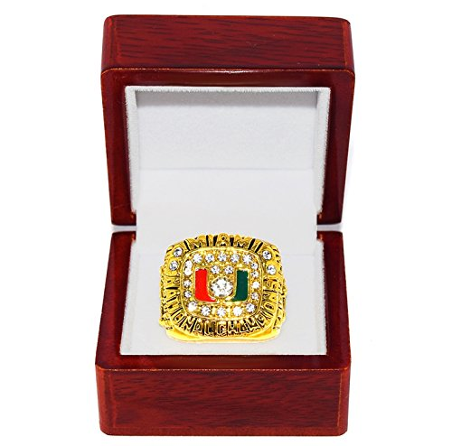 UNIVERSITY OF MIAMI HURRICANES (Craig Erickson) 1991 NATIONAL CHAMPIONS (Undefeated Season) Collectible High-Quality Replica NCAA Football Gold Championship Ring with Cherrywood Display Box Trackside Autographs
