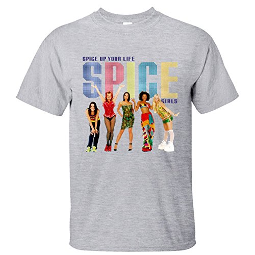 XTOTO Men's Spice Up Your Life Spice Girls Band Cool T-shirts grey M