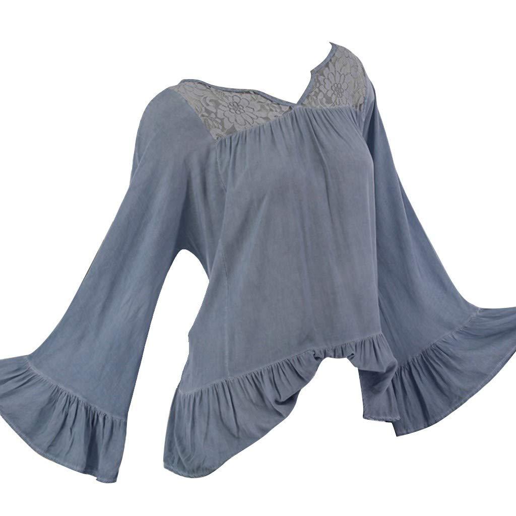 Yemenger Lace Blouse for Ladies V Neck Ruffled Sleeve Sweatshirt Elegant Shirt Women Long Sleeve Top Blue by Yemenger_women tops