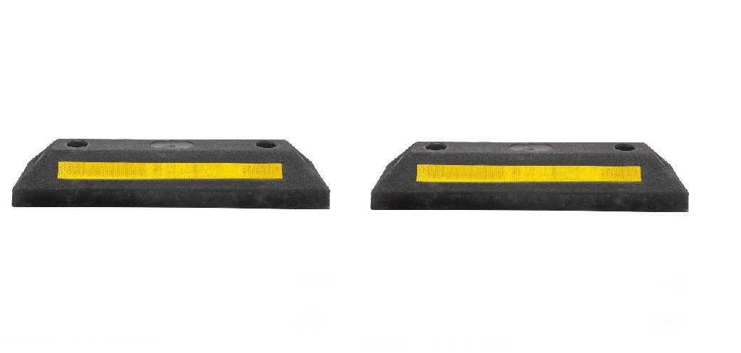 21'' Rubber Parking Curb Stop for Garage / Driveway Wheel Stop ( Pack of 2)