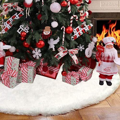 BSSN Christmas Tree Skirt Fur Plush Snowy White 60 Inches,Large Size Faux Fur Soft Luxury Tree Decorations,Holiday Romantic Ornaments for Xmas Party Home Market Indoor Outdoor