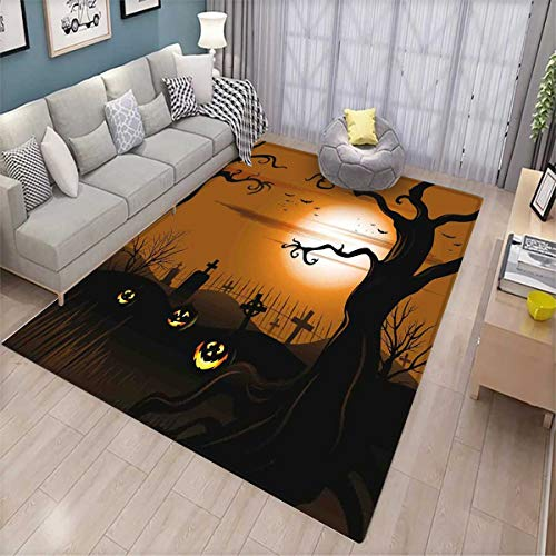 Halloween Customize Door mats for Home Mat Leafless Creepy Tree with Twiggy Branches at Night in Cemetery Graphic Drawing Door Mat Outside Brown Tan