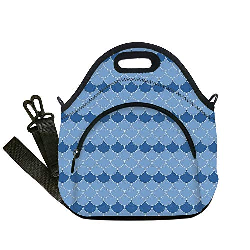 (Insulated Lunch Bag,Neoprene Lunch Tote Bags,Navy Blue Decor,Cute Scallop Patterns Circles with Pastel Colors Oval Fish Wave Illustration Decor Home,Blue,for Adults and children)