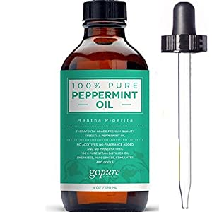 The BEST Peppermint Oil by goPure - Mentha Piperita - 100% Pure Peppermint Essential Oil - Therapeutic, Steam Distilled - Grade A - With Glass Dropper - Undiluted with No Fillers, No Alcohol or other Additives - Natural Insect Repellent - Peppermint Oil Provides Relief from Stress, Headaches & Anxiety - Eases Stomach Discomfort - Refreshes and Relaxes - Promotes Beautiful Skin - Reduces Acne - Buy with Confidence - LARGE 4 OZ Size!