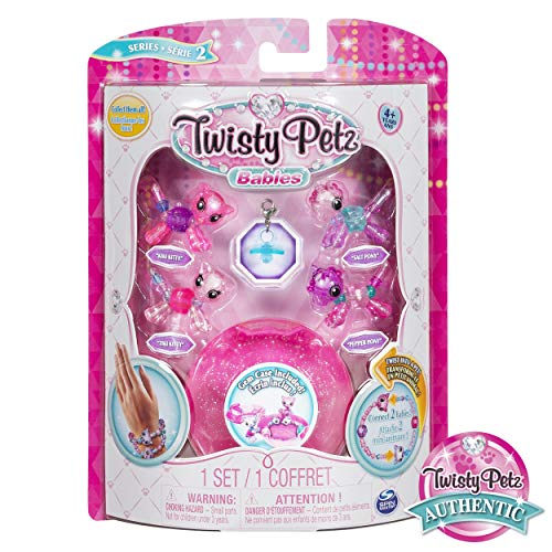 (Twisty Petz, Series 2 Babies 4 Pack, Kitties and Ponies Collectible Bracelet and Case (Pink) For Kids)