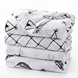 """Upsimples Newborn Baby Swaddle Blanket Unisex Soft Bamboo Muslin Swaddle Blankets 47"""" x 47"""" Large Receiving Blanket for Boys and Girls, Set of 4-Arrow/Feather/Tent/Crisscross"""