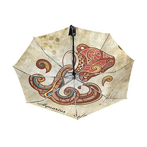 - Franzibla Constellation Zodiac Sign Aquarius UPF 50+ Anti-UV Parasol Waterproof Windproof Reverse 3 Folds Auto Open Close Lightweight Umbrella