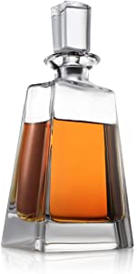 Luna Whiskey Decanter – 23 oz Crystal Modern Decanter – Small Liquor Decanter with Stopper – Booze Decanter for Whiskey, Bourbon, Brandy, Liquor, and Rum – Scotch Bar Container