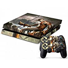 Designer Vinyl Skin Action and Adventure Game Decal for PlayStation PS4 Console and 2 Free Controller Stickers (Ares Fire War God 079)