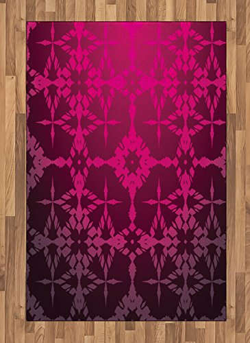 Ambesonne Magenta Area Rug, Victorian Stylized Classical Bound Ornamental Mosaic Patterns in Nostalgic Design, Flat Woven Accent Rug for Living Room Bedroom Dining Room, 4 X 5.7 FT, Rosewood