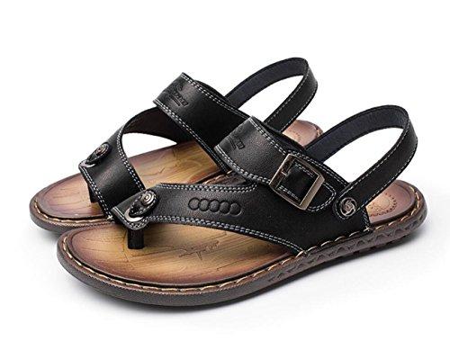 Pantofole On Sandali Pull Outdoor da Libero Pelle Il Sandali da Scarpe in DANDANJIE per Traspirante Uomo Tempo Morbida nero Spiaggia qa8zTYwd