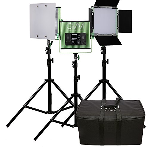 3 LED Video Light and Light Stand Kit GVM-520S CRI97+ & TLCI97+ 18500lux Bi-color 3200~5600K professional for Interview Portrait Photography Lighting by GVM