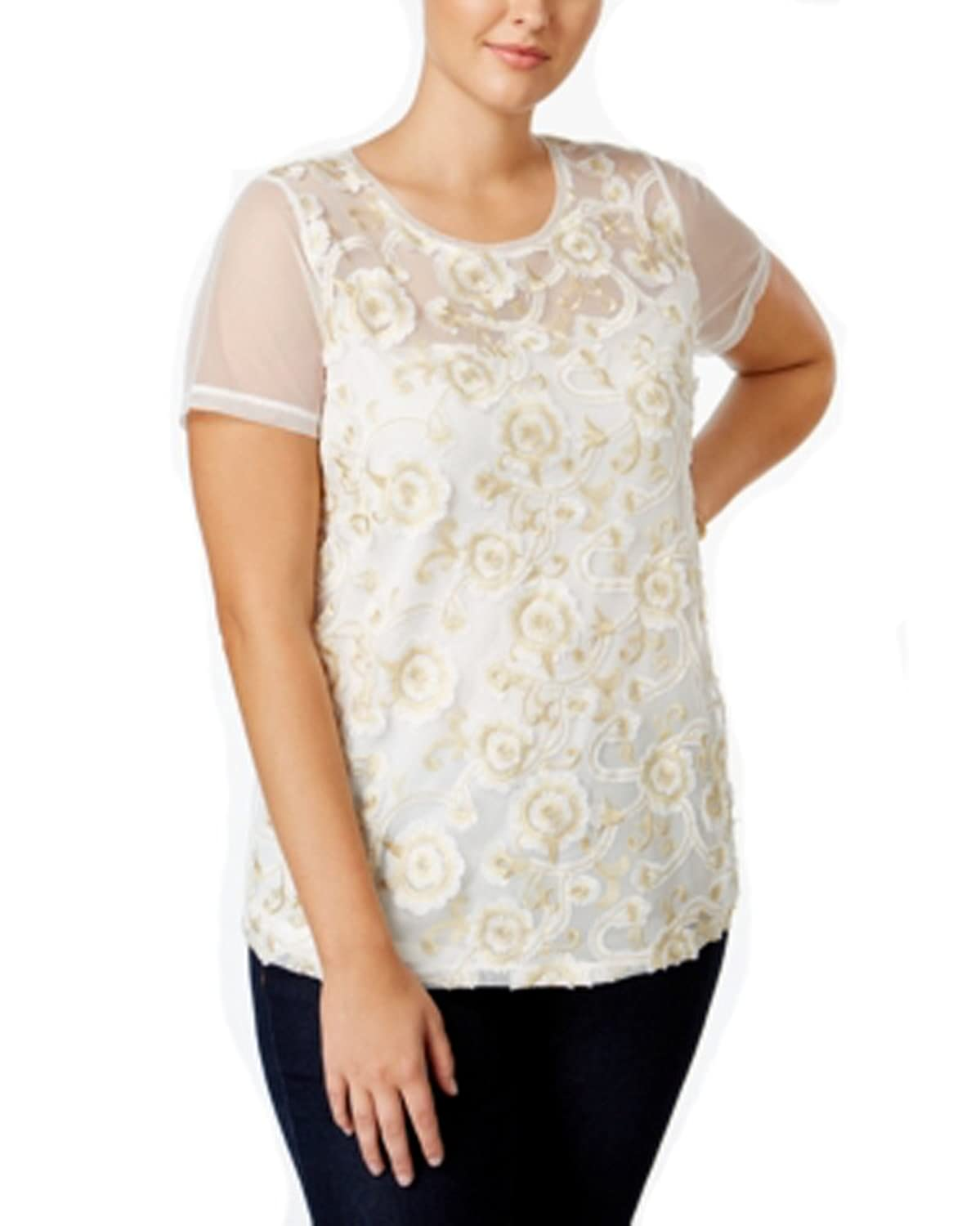 Inc International Concepts Womens Plus Size Embroidered Metallic Flower White Shirt Top 0X at Amazon Womens Clothing store: