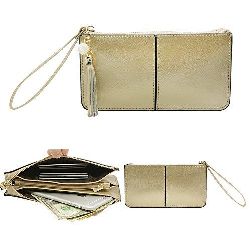 Befen Soft Smartphone Wristlet Wallet Clutch With Exquisite Tassels/Wrist Strap/Card slots/Cash pocket- Fit iPhone 8/7/6 Plus-Cute Deer Light Gold Wristlet
